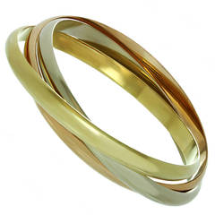 Cartier Trinity Tricolor Gold Large Model  Bangle Bracelet, Small Wrist Size