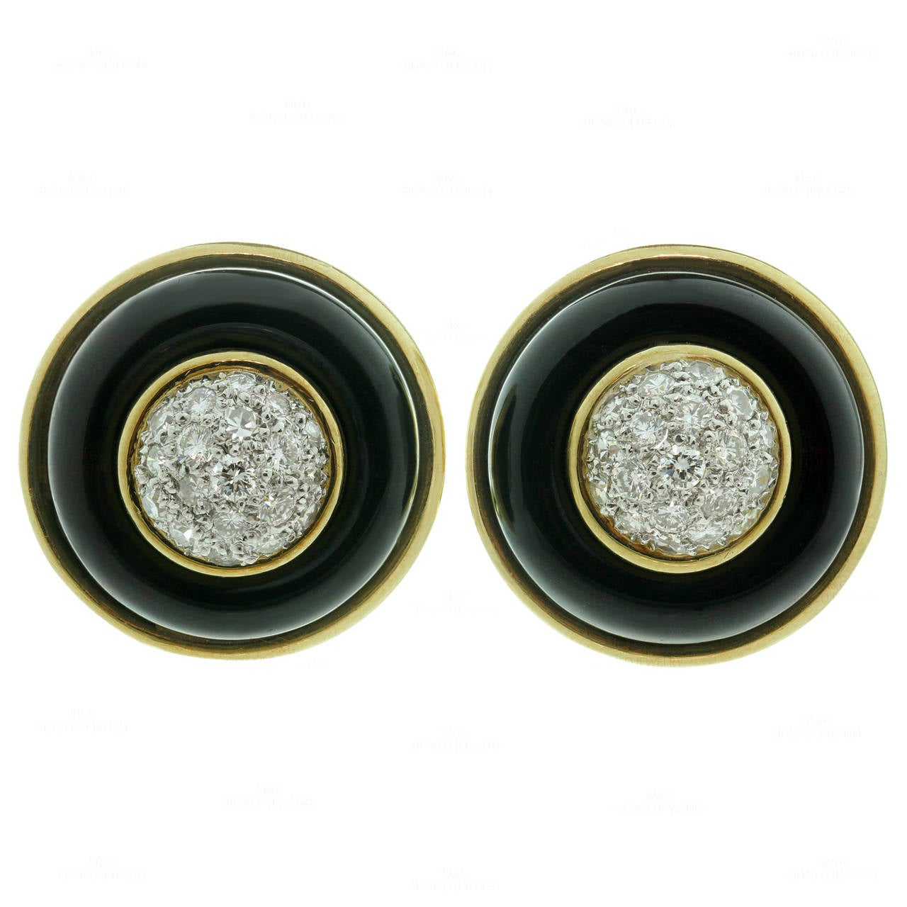 1970s Tiffany & Co.  Diamond Onyx Gold Clip-on Earrings