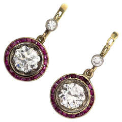 1890s Belle Epoque Diamond Ruby Platinum Yellow Gold Earrings