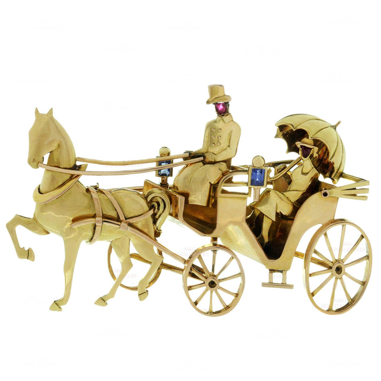 1940s Mauboussin Paris Sapphire Ruby Gold Horse Carriage Couple Brooch For Sale
