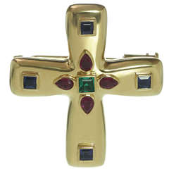 1990s CARTIER Byzantine Multicolor Gemstone Cross Pendant Brooch Necklace $20000