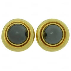 1980s Tiffany & Co. Paloma Picasso Hematite Yellow Gold Earrings