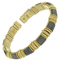 1980s BVLGARI Hematite Yellow Gold Cuff Bangle Bracelet