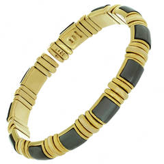 1980s Bulgari Hematite Gold Cuff Bangle Bracelet