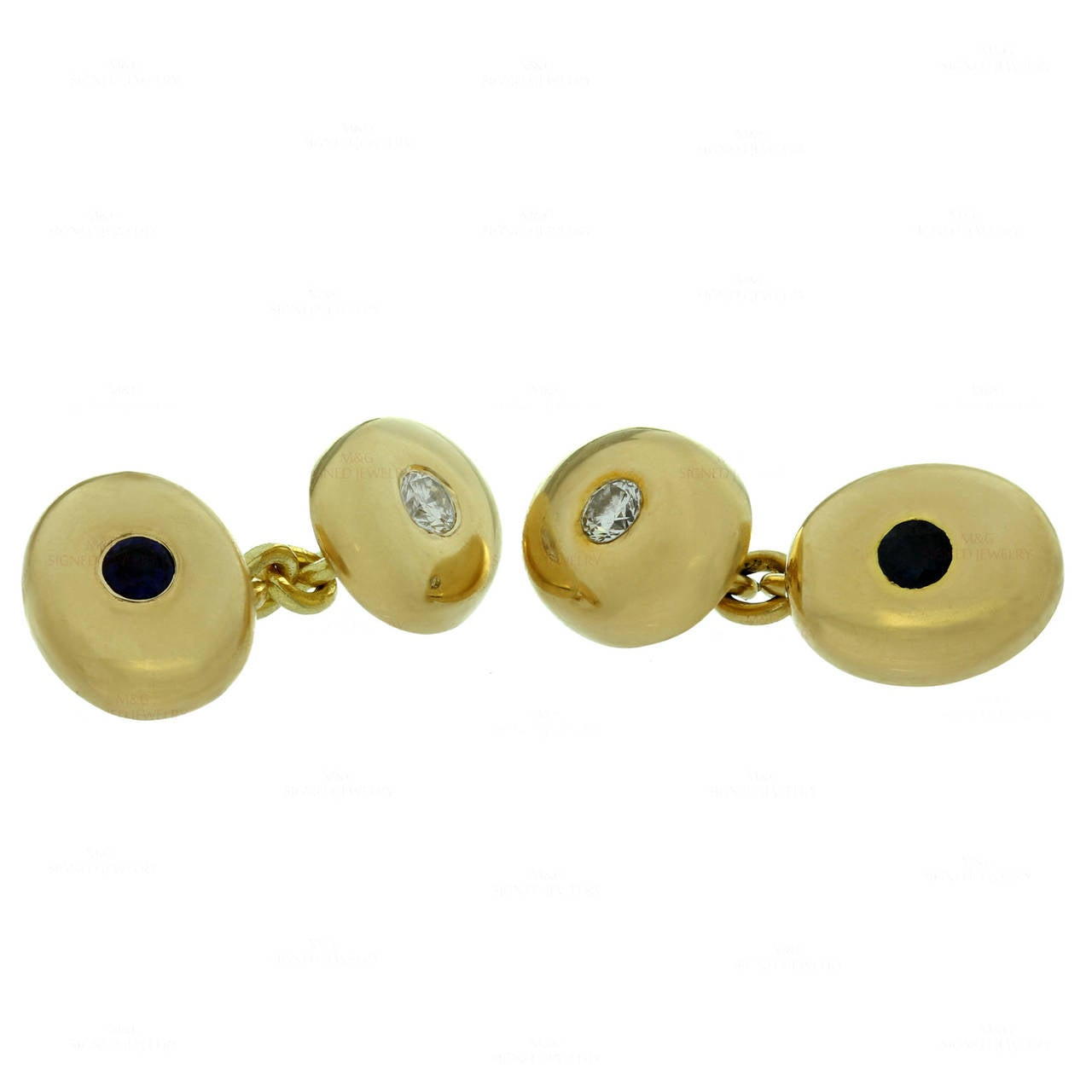 1950s Chaumet Paris Diamond Sapphire Yellow Gold Cufflinks