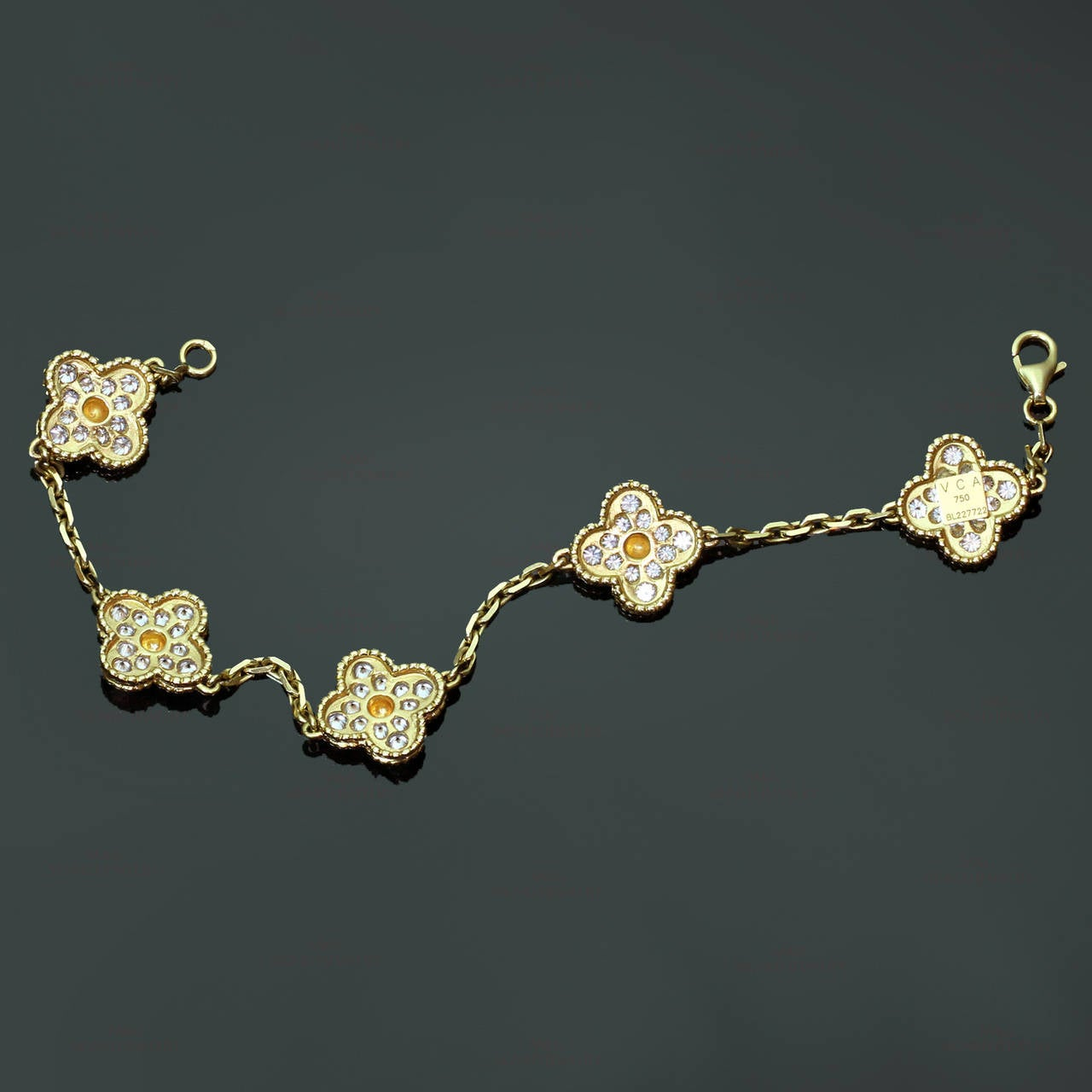 Van Cleef & Arpels Alhambra Diamond Gold Five Motif Bracelet In Excellent Condition For Sale In New York, NY