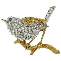 1960s Tiffany & Co. Sapphire Diamond Gold Bird on Branch Brooch