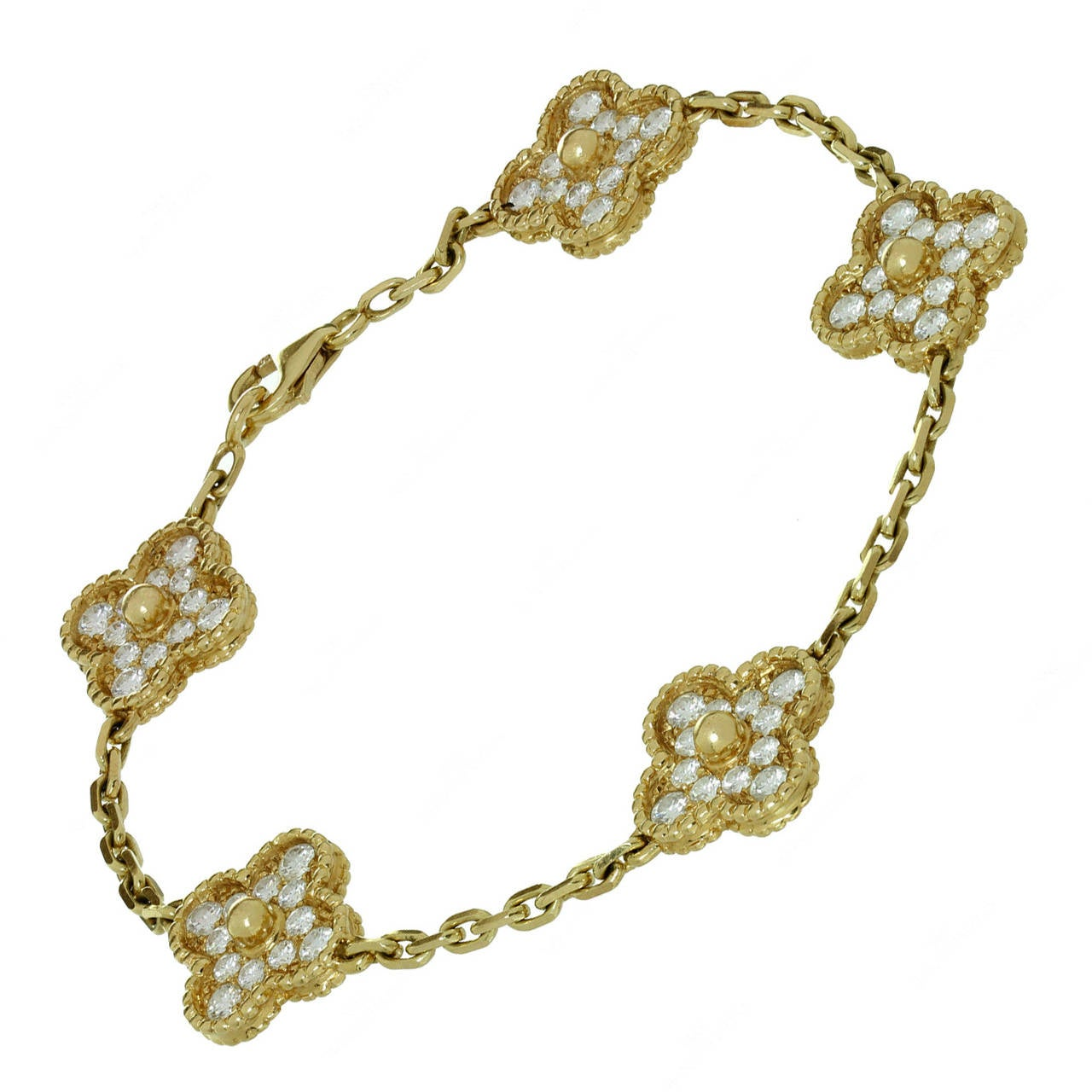 Van Cleef & Arpels Alhambra Diamond Gold Five Motif Bracelet For Sale