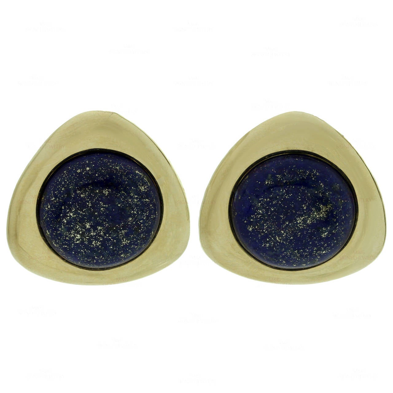 1980s Lapis Lazuli Yellow Gold Earrings