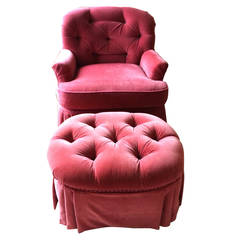 Hollywood Regency Tufted Lounge Chair and Ottoman