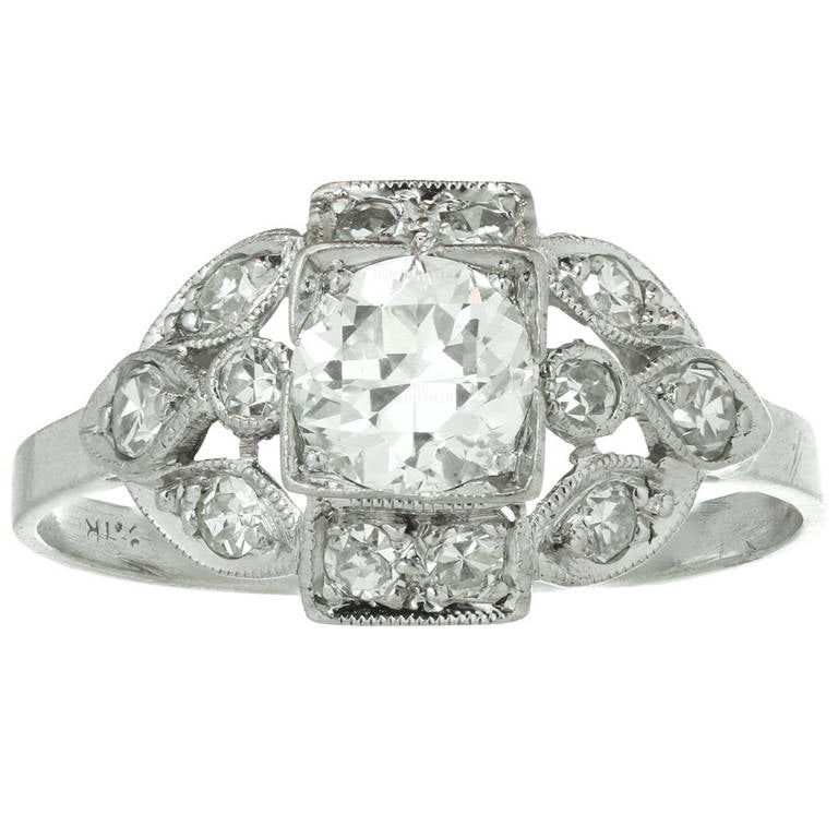 1930s Art Deco Antique Diamond Platinum Engagement Ring at ...