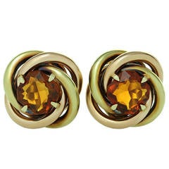 Cartier Love-Knot Citrine Rose and Yellow Gold Earrings