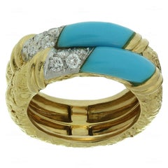 Van Cleef & Arpels Turquoise Diamond Yellow Gold Band Ring, 1960s