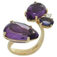 ANTONINI Amethyst Diamond Blue Iolite Yellow Gold Ring