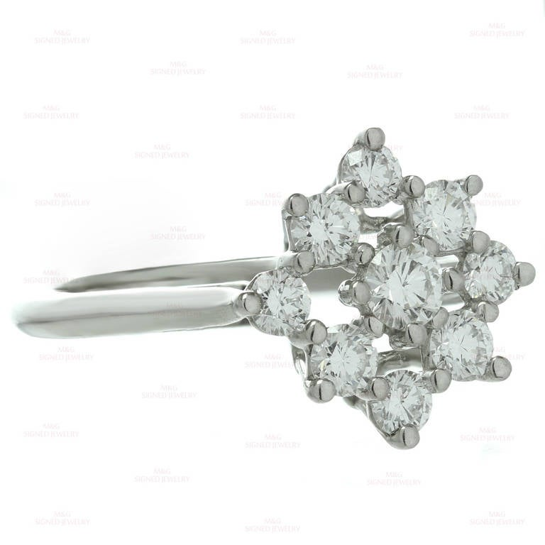 Tiffany & Co. Diamond Platinum Flower Ring In Excellent Condition For Sale In New York, NY