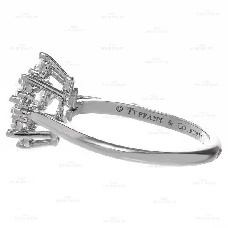 Women's Tiffany & Co. Diamond Platinum Flower Ring For Sale