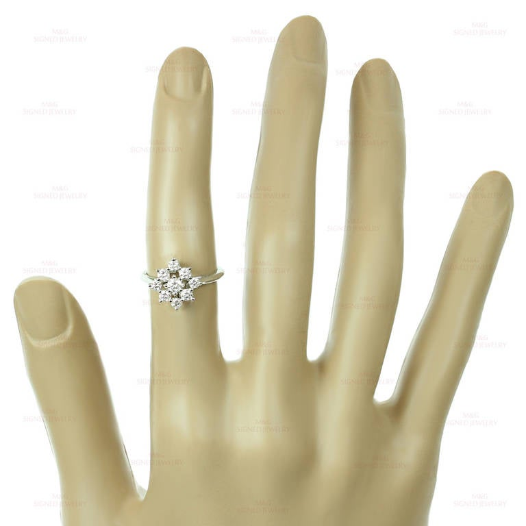 Tiffany & Co. Diamond Platinum Flower Ring For Sale 2
