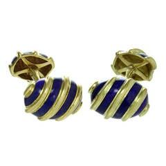 Tiffany & Co. Schlumberger Blue Enamel Yellow Gold Olive Cufflinks