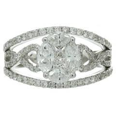 Mosaic Diamond White Gold Ring
