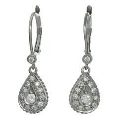 Diamond White Gold Dangle Drop Earrings