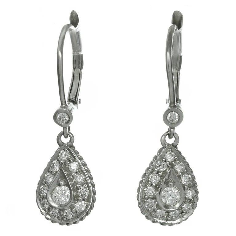 Diamond White Gold Dangle Drop Earrings