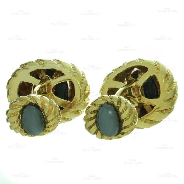 1990s Tiffany & Co. Hematite Yellow Gold Cufflinks For Sale 1