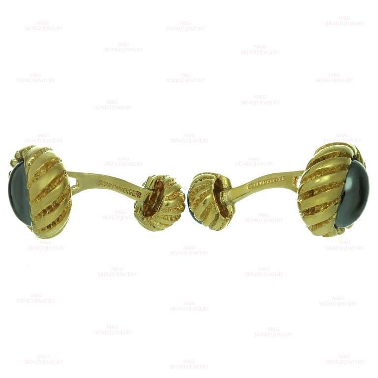 Men's 1990s Tiffany & Co. Hematite Yellow Gold Cufflinks For Sale
