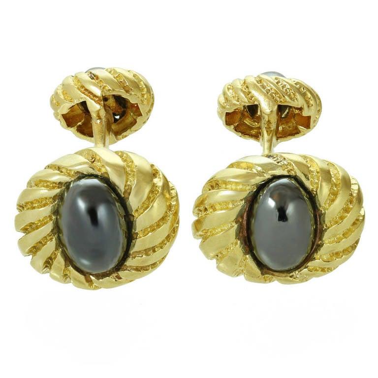 1990s Tiffany & Co. Hematite Yellow Gold Cufflinks For Sale