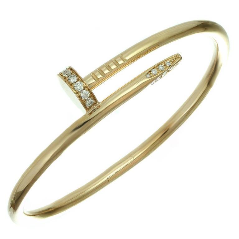 Cartier Juste un Clou Diamond Rose Gold Nail Bangle ...
