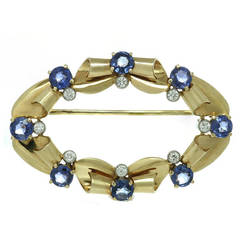 Tiffany & Co. Blue Sapphire Diamond Yellow Gold Brooch