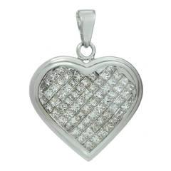 Diamond White Gold Heart-Shaped Charm Pendant