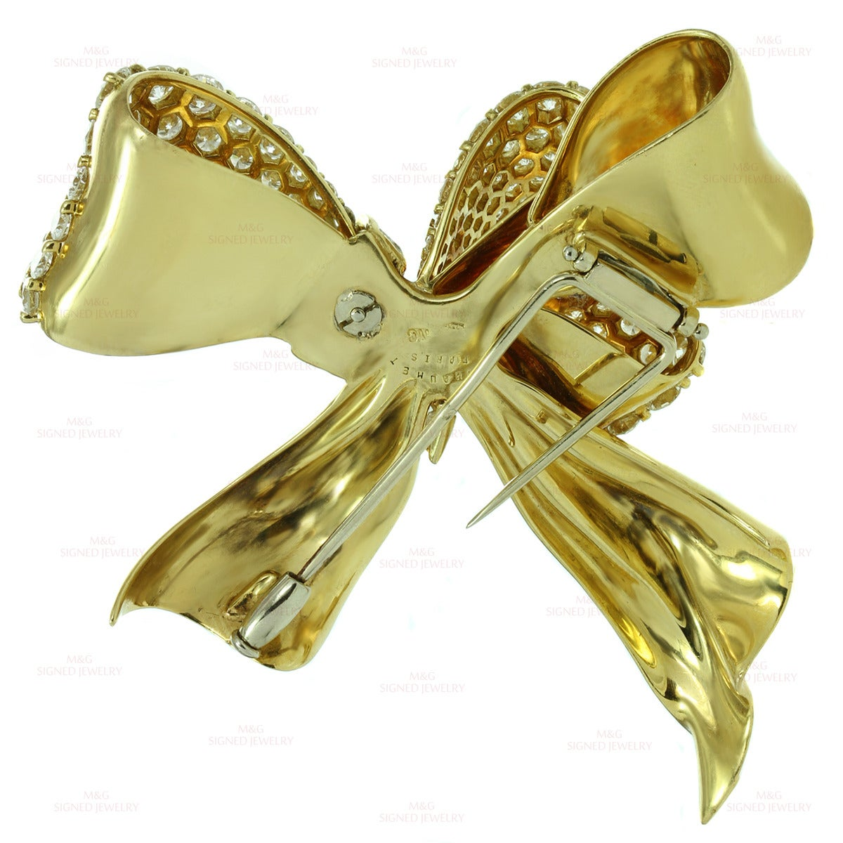 Women's Chaumet Diamond Yellow Gold Bow Brooch Pin For Sale