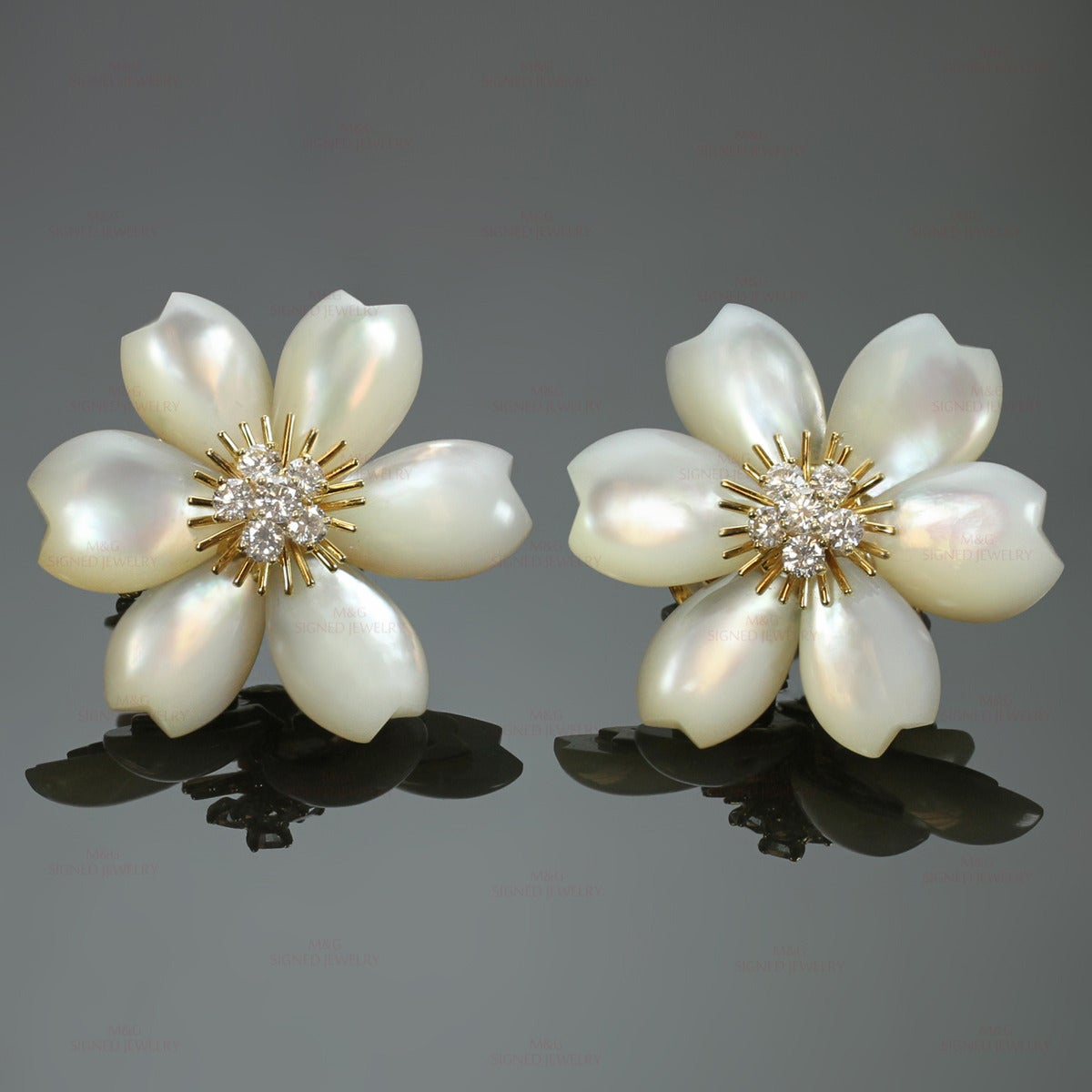 Van Cleef & Arpels Rose De Noel Diamond Mother-of-Pearl Flower Clip-on Earrings 2