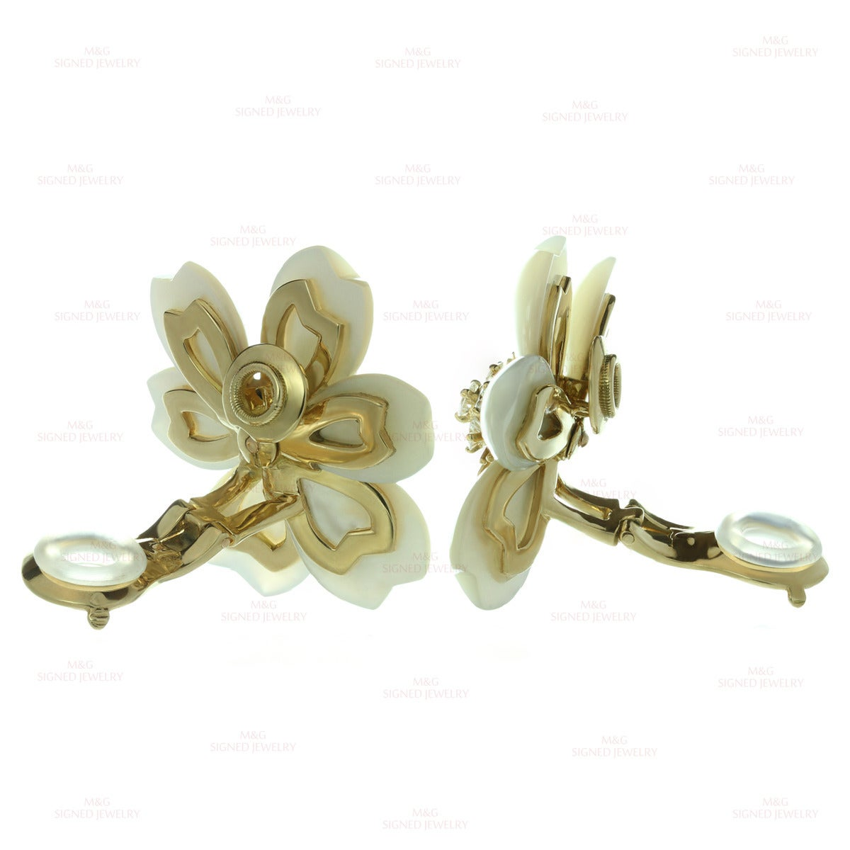 Van Cleef & Arpels Rose De Noel Diamond Mother-of-Pearl Flower Clip-on Earrings 6