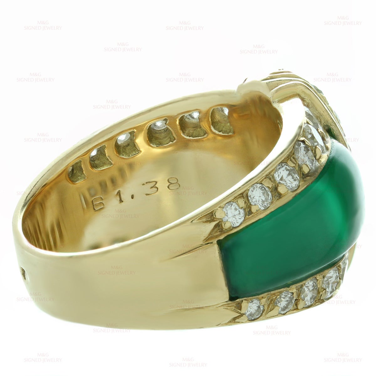 Van Cleef & Arpels Green Chrysoprase Diamond Yellow Gold Ring For Sale 2