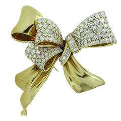 Chaumet Diamond Yellow Gold Bow Brooch Pin
