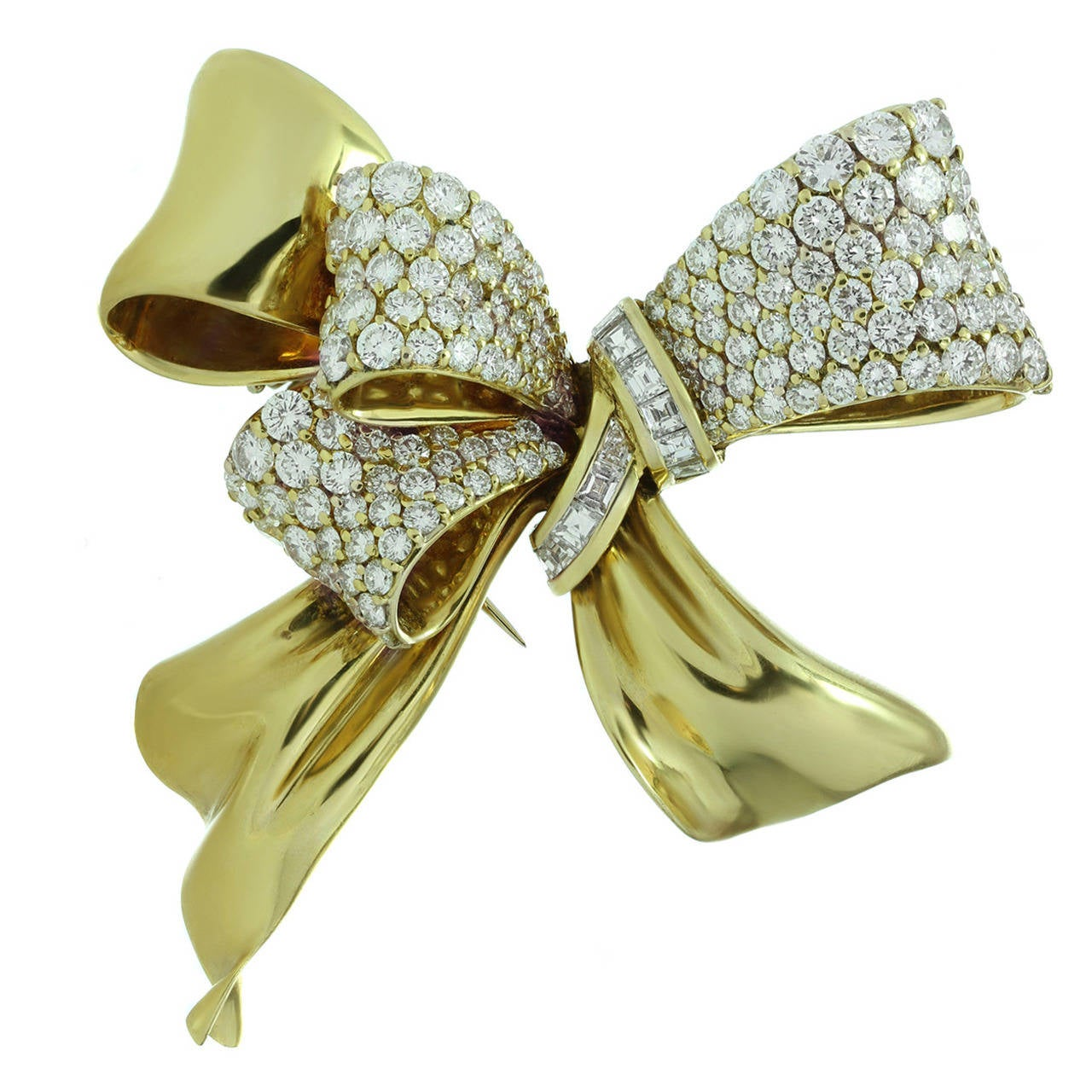 Chaumet Diamond Yellow Gold Bow Brooch Pin For Sale