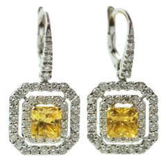 Yellow Sapphire Diamond White Gold Earrings