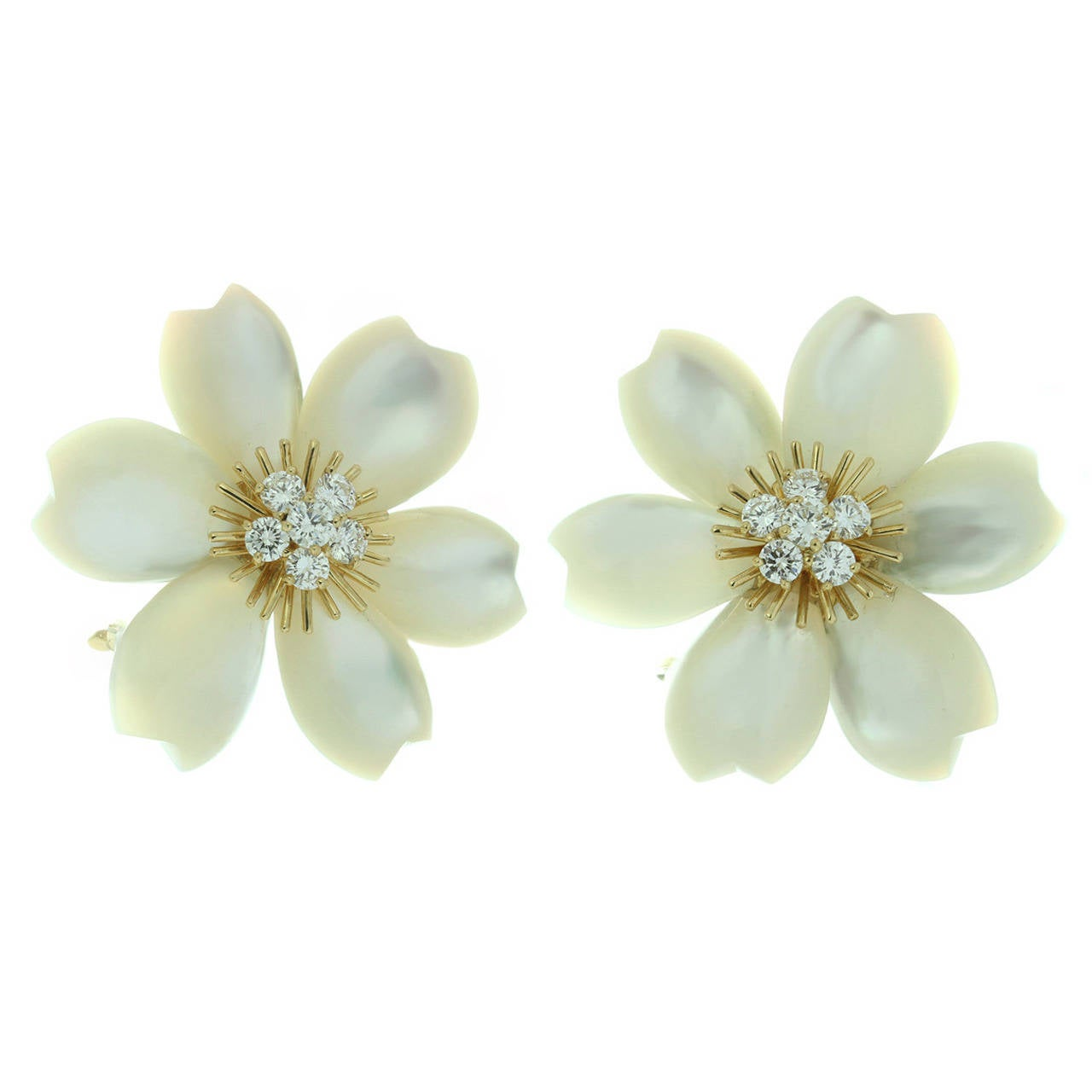 Van Cleef & Arpels Rose De Noel Diamond Mother-of-Pearl Flower Clip-on Earrings 1