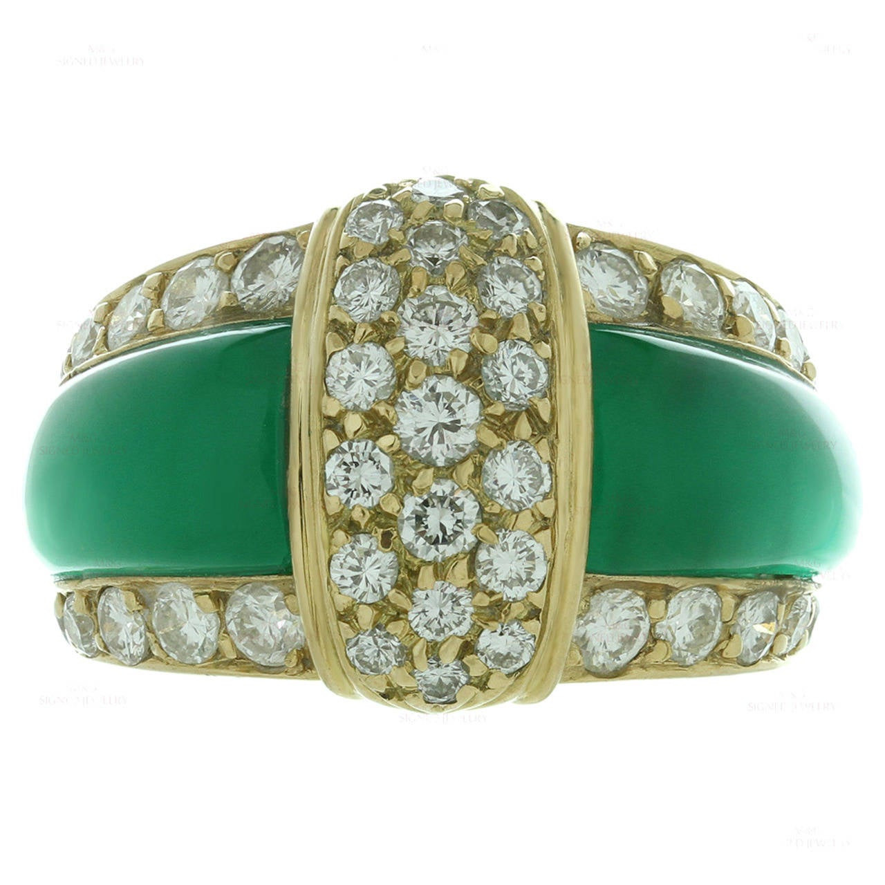 Van cleef amp arpels vca 18k yellow gold ruby cabochon amp diamond - Van Cleef Arpels Green Chrysoprase Diamond Yellow Gold Ring