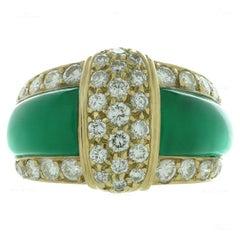 Van Cleef & Arpels Green Chrysoprase Diamond Yellow Gold Ring
