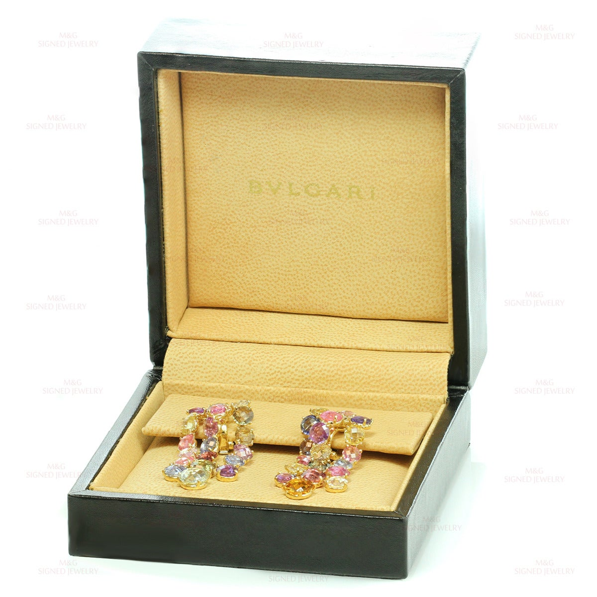Bulgari Multicolor Sapphire Diamond Dangling Clip-on Earrings In Excellent Condition For Sale In New York, NY