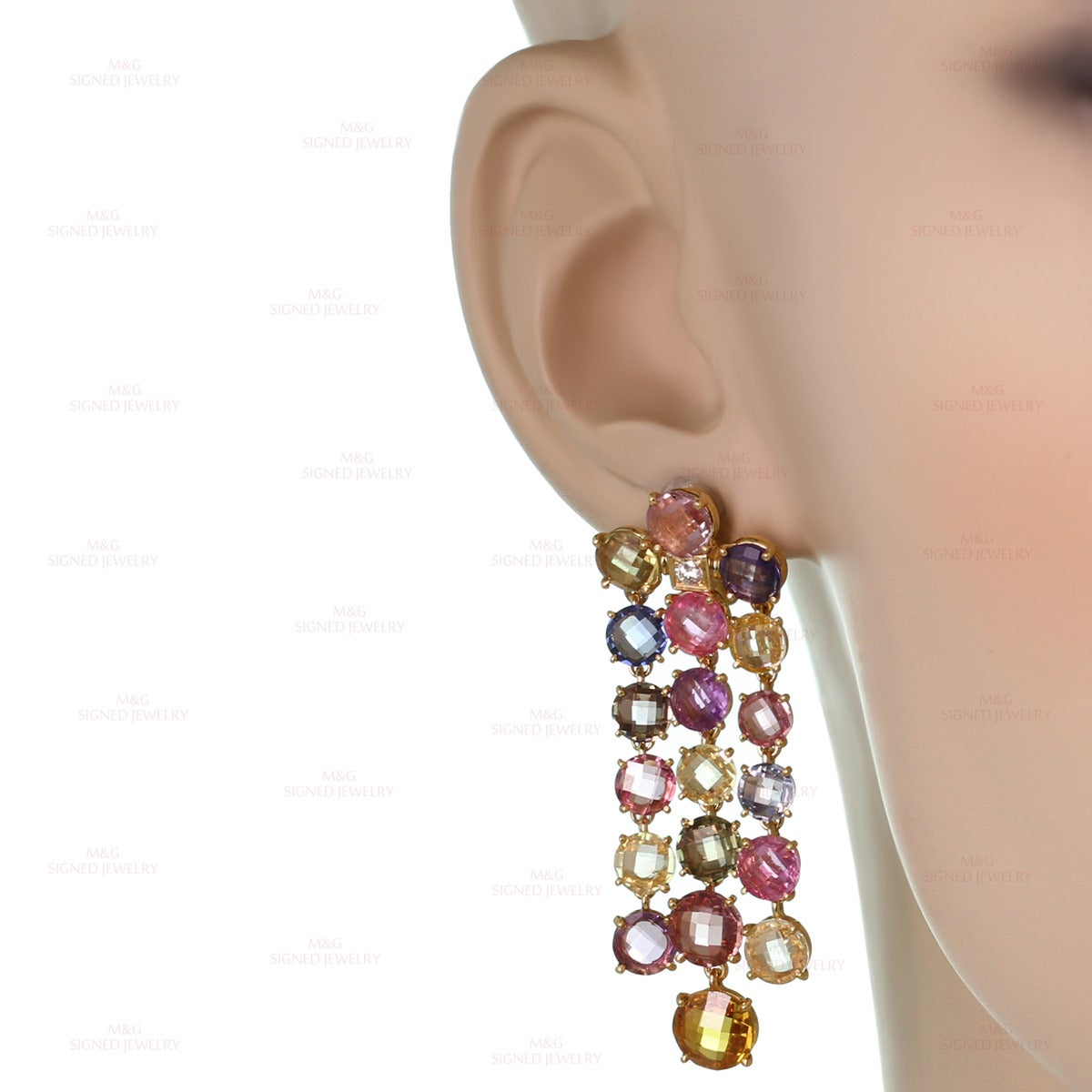 Women's Bulgari Multicolor Sapphire Diamond Dangling Clip-on Earrings For Sale