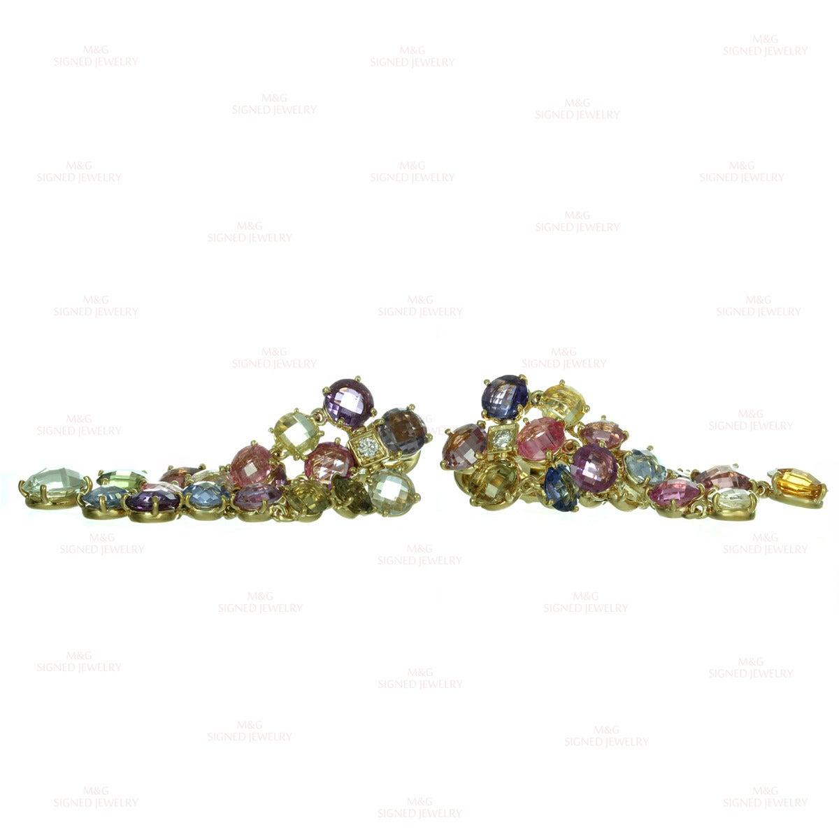 Bulgari Multicolor Sapphire Diamond Dangling Clip-on Earrings 5