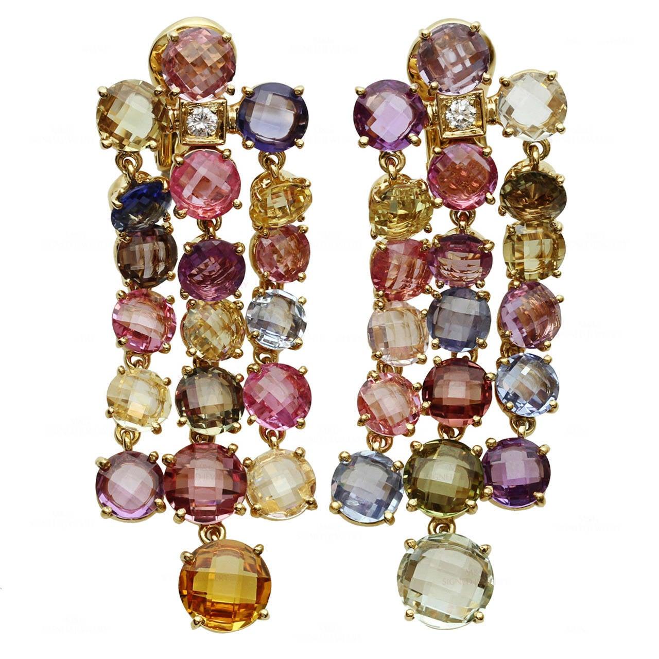 Bulgari Multicolor Sapphire Diamond Dangling Clip-on Earrings 1