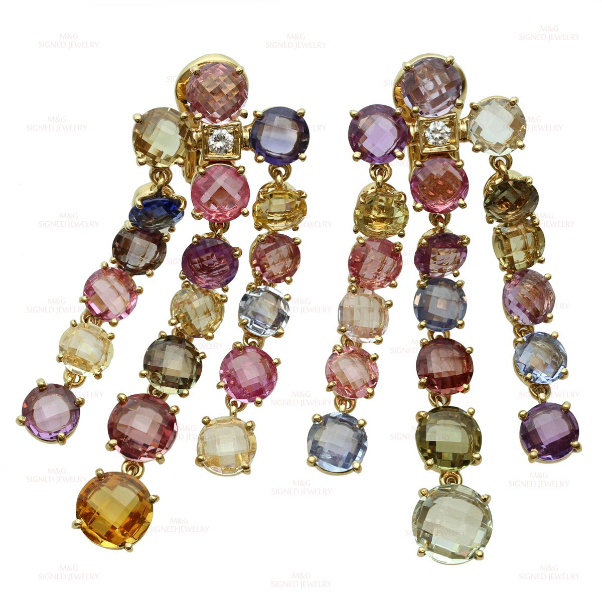 Bulgari Multicolor Sapphire Diamond Dangling Clip-on Earrings For Sale 4