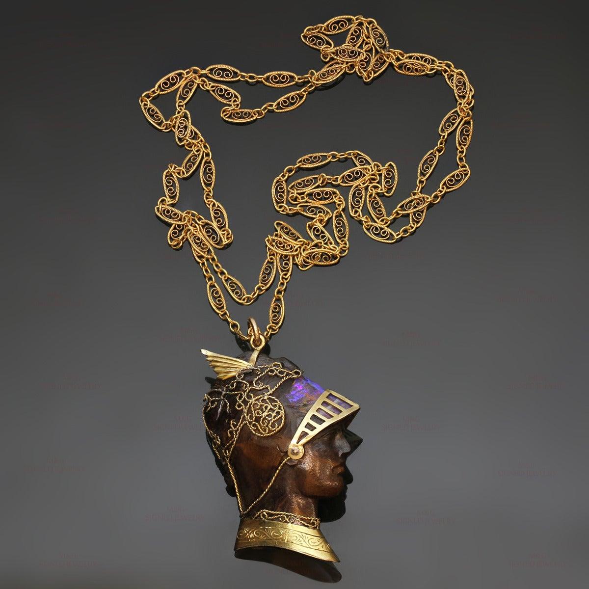 Wilhelm Schmidt Art Nouveau Boulder Opal Iron Gold Roman Soldier Pendant 2