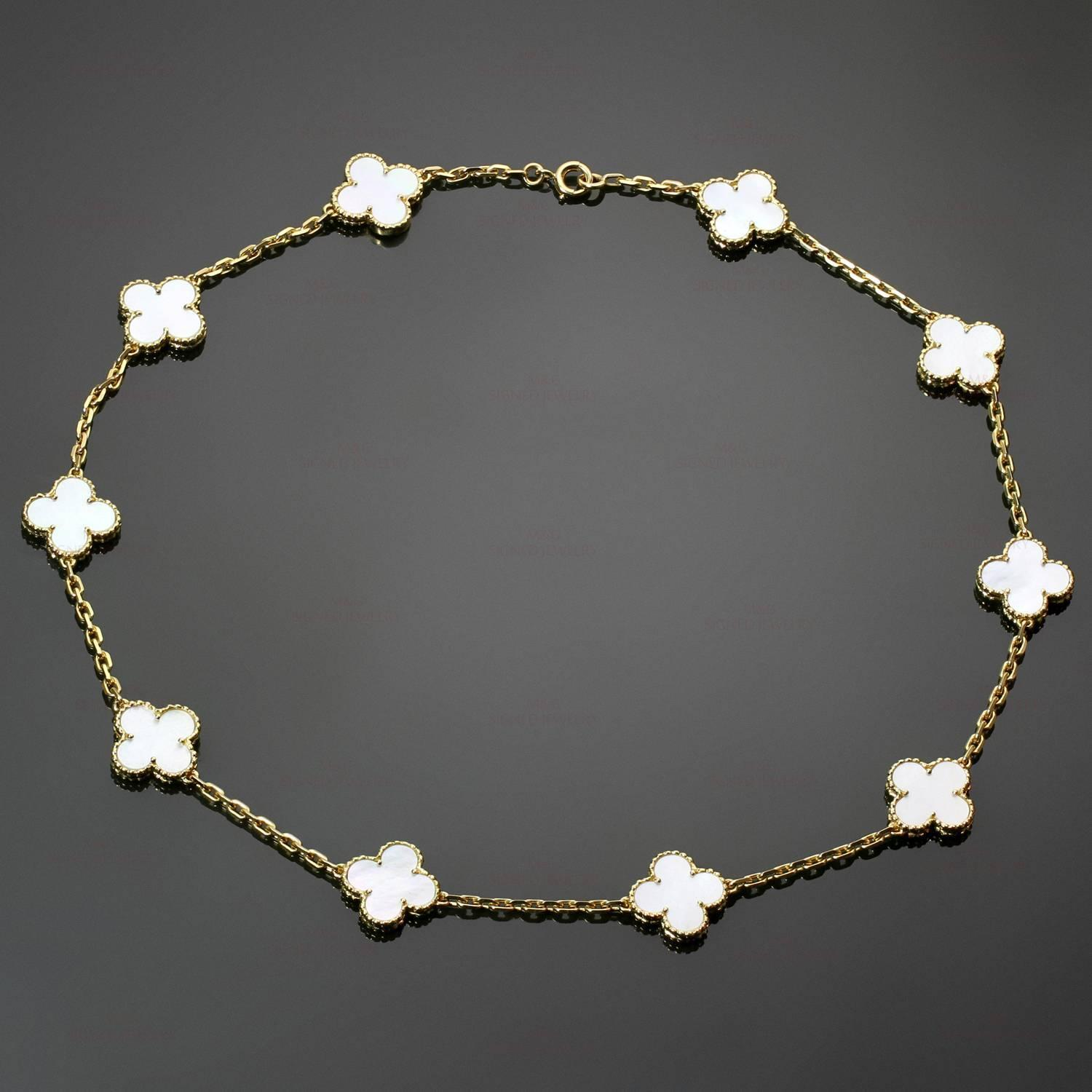 Van Cleef And Arpels Mother Of Pearl Necklace: Van Cleef And Arpels Vintage Alhambra 10-Motif Mother-of