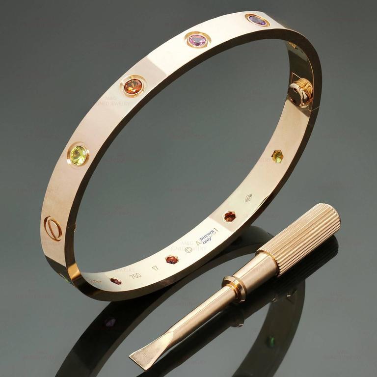 Bien-aimé Cartier Love Multicolor Gemstone Pink Gold New Style Bracelet at  DI86