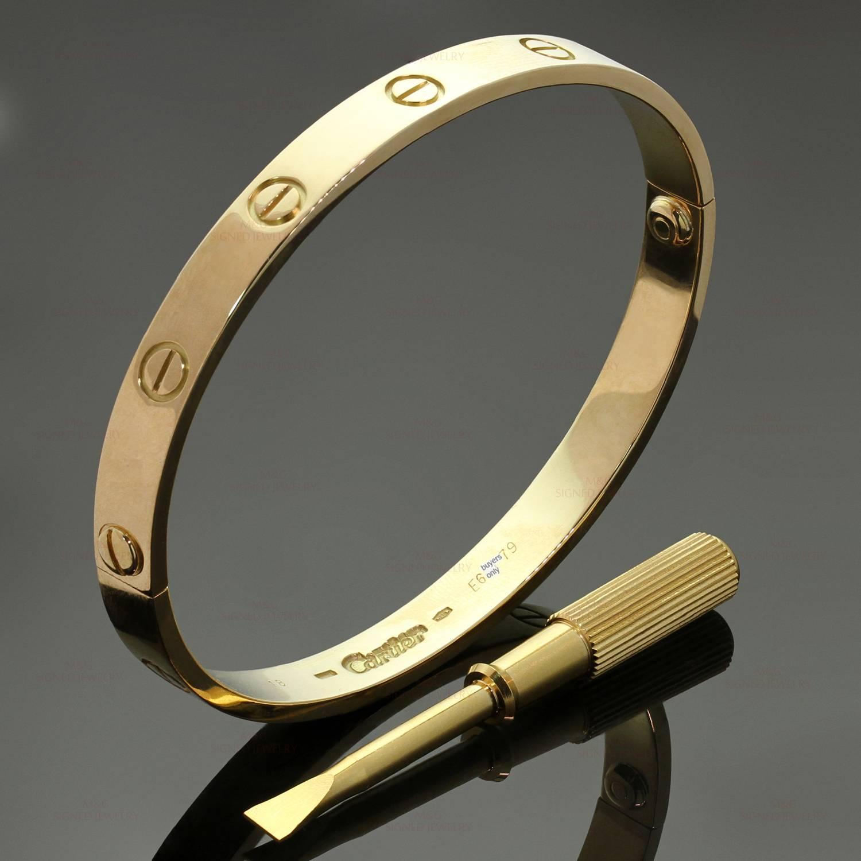 Cartier Yellow Gold love Bracelet, Sz 18 at 1stdibs
